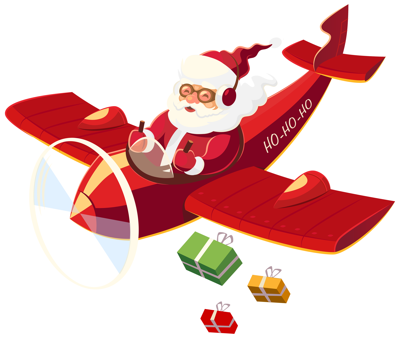 Christmas cliparts free download. Clipart santa airplane