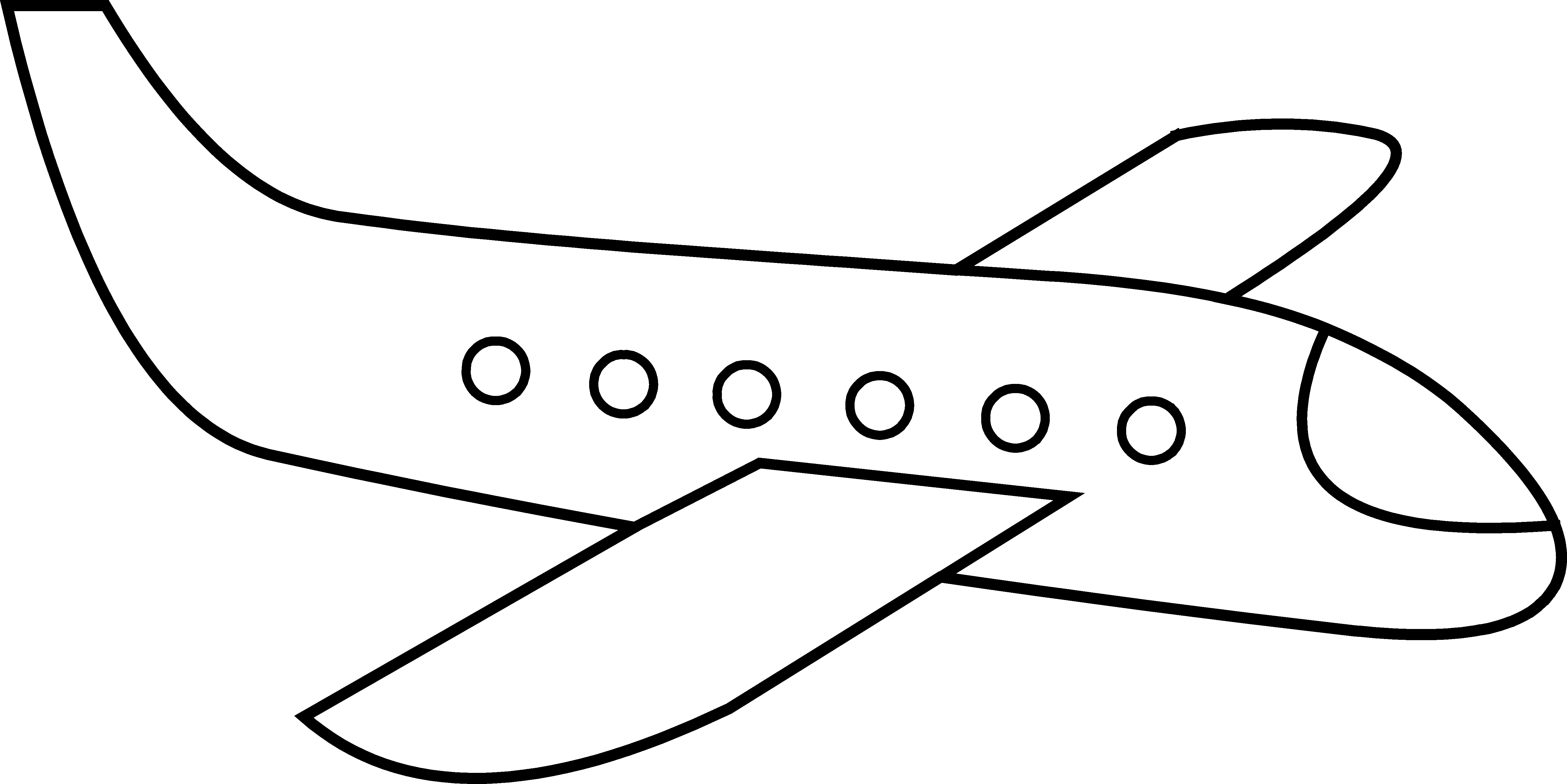 Cute airplane line art. Exercising clipart simple