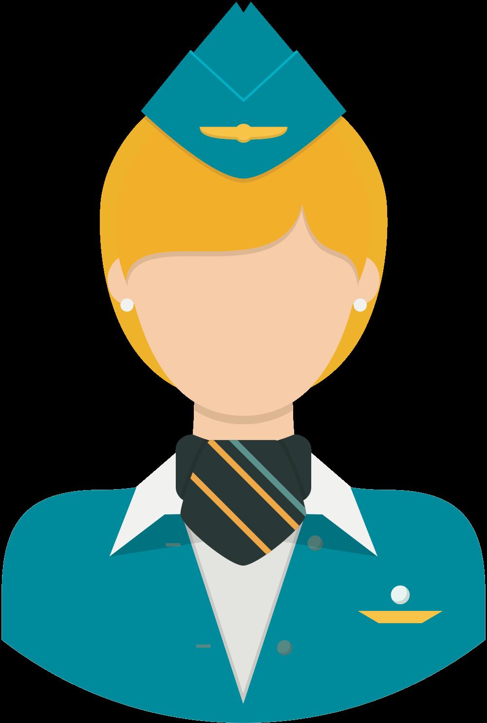 Accomplished flight attendants teaching. Pilot clipart crew