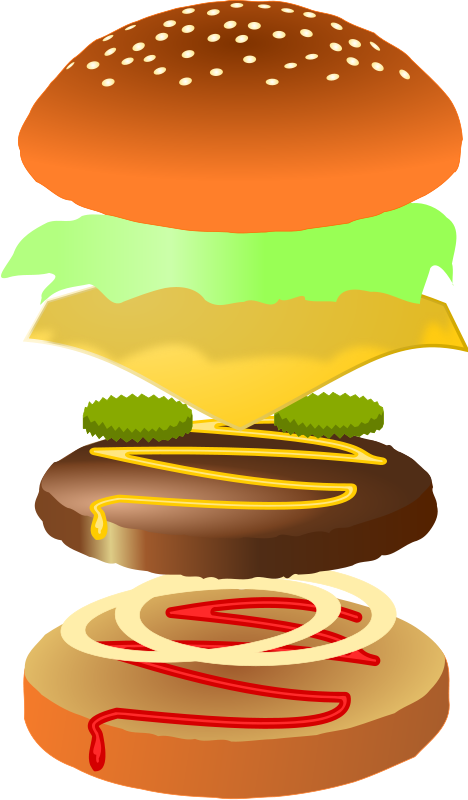 Luncheon clipart enough food. Hamburger play crochet felt