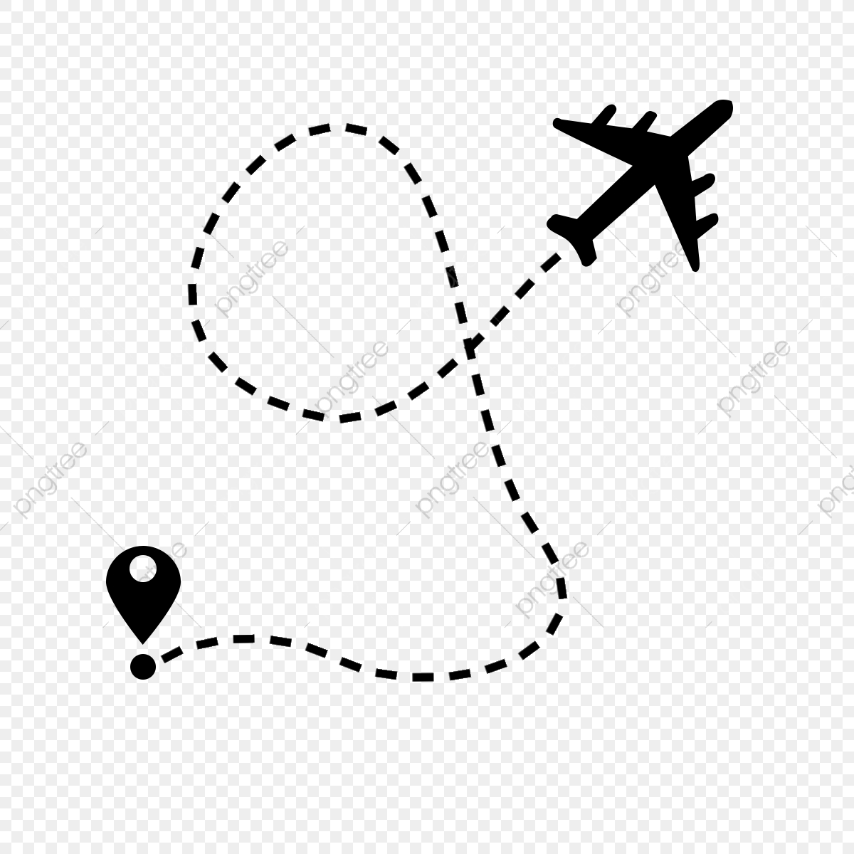 Air route with start. Clipart plane flight