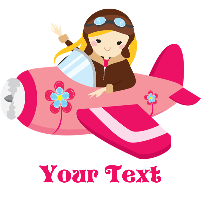 Pink airplane girl with. Kid clipart pilot