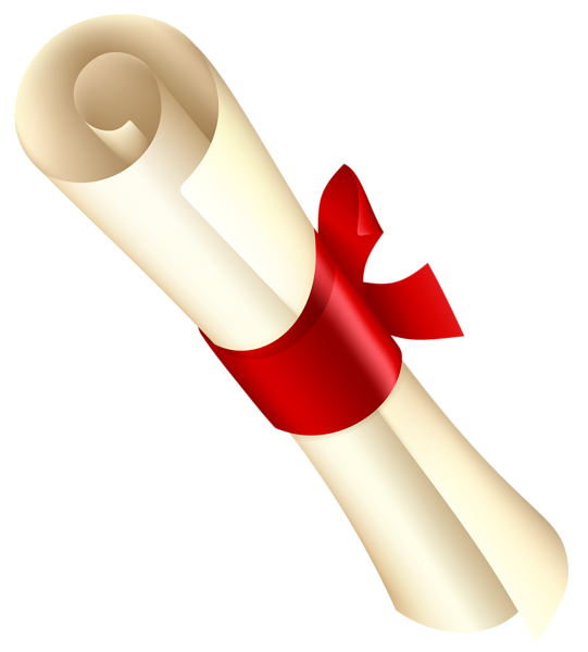 With red ribbon png. Diploma clipart graphic