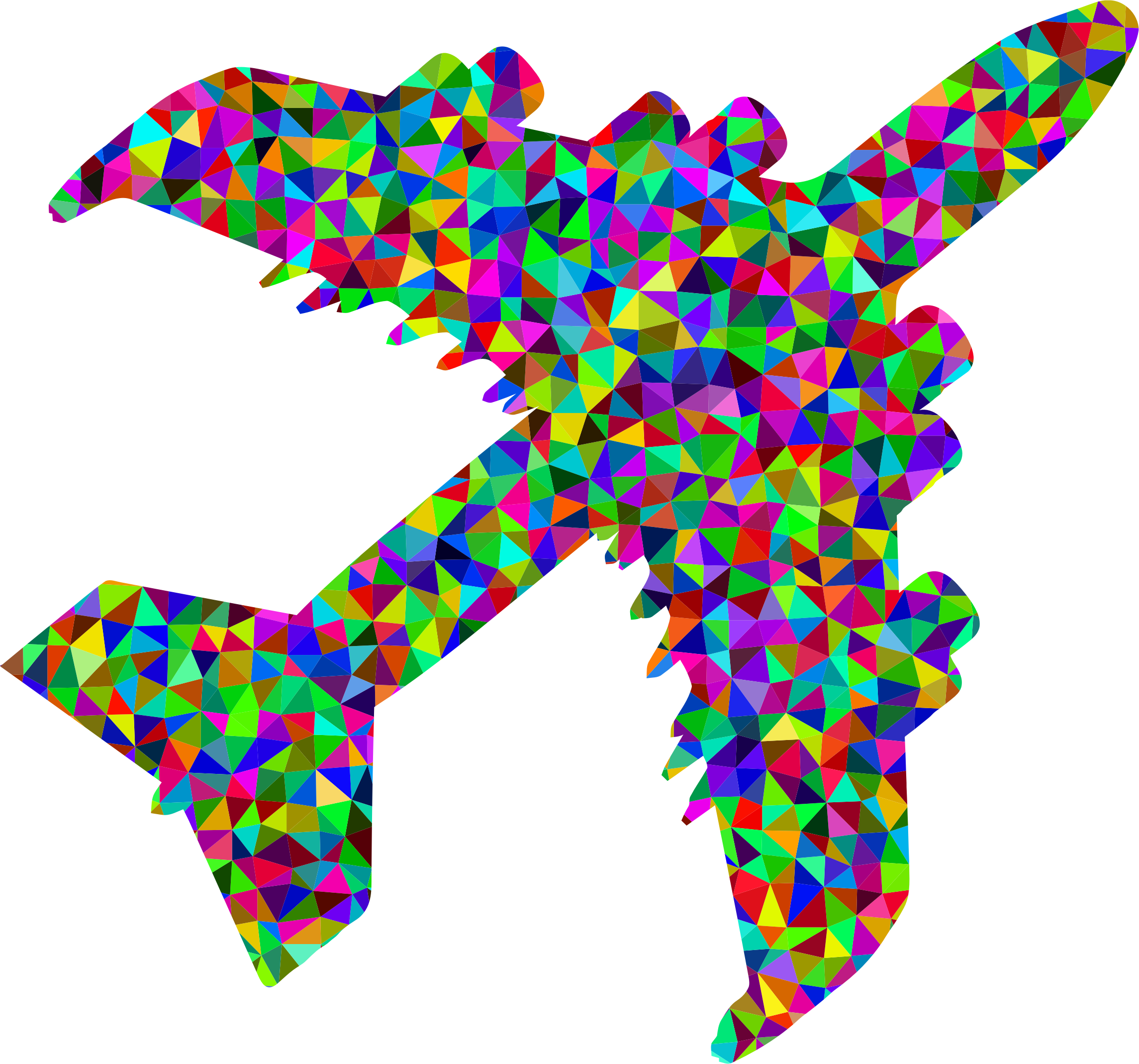 Prismatic low poly big. Clipart airplane shadow