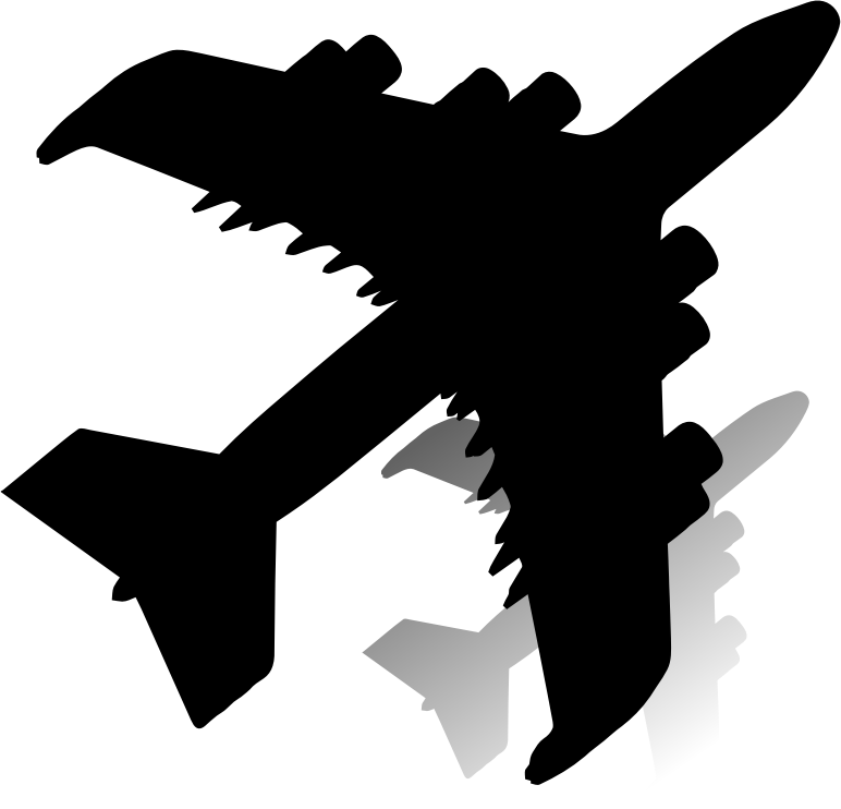Clipart airplane shadow. With silhouette medium image