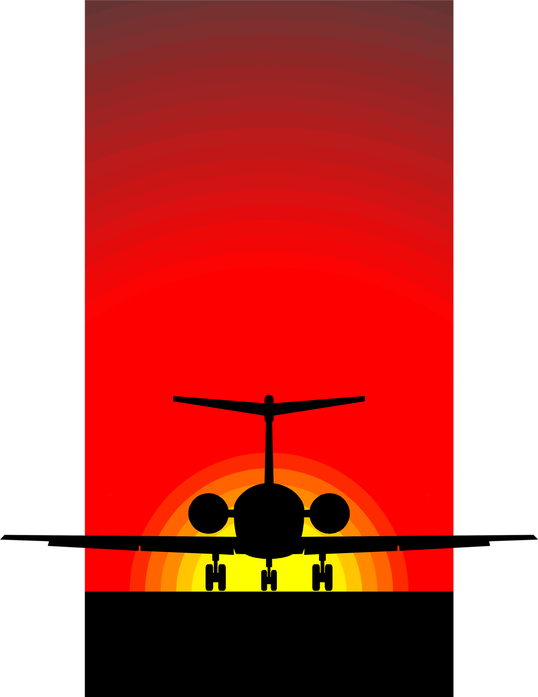 Clipart sun sunset. Airplane free stock photo