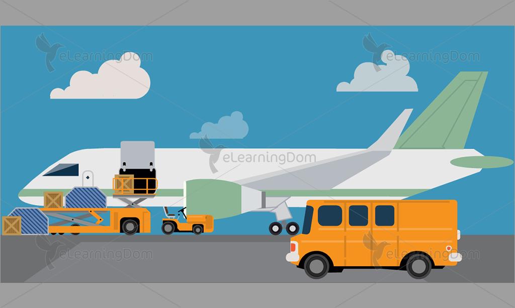 Transportation clipart airplane. Cargo loading on elearningdom