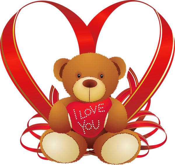 Red heart with teddy. Racoon clipart handsome