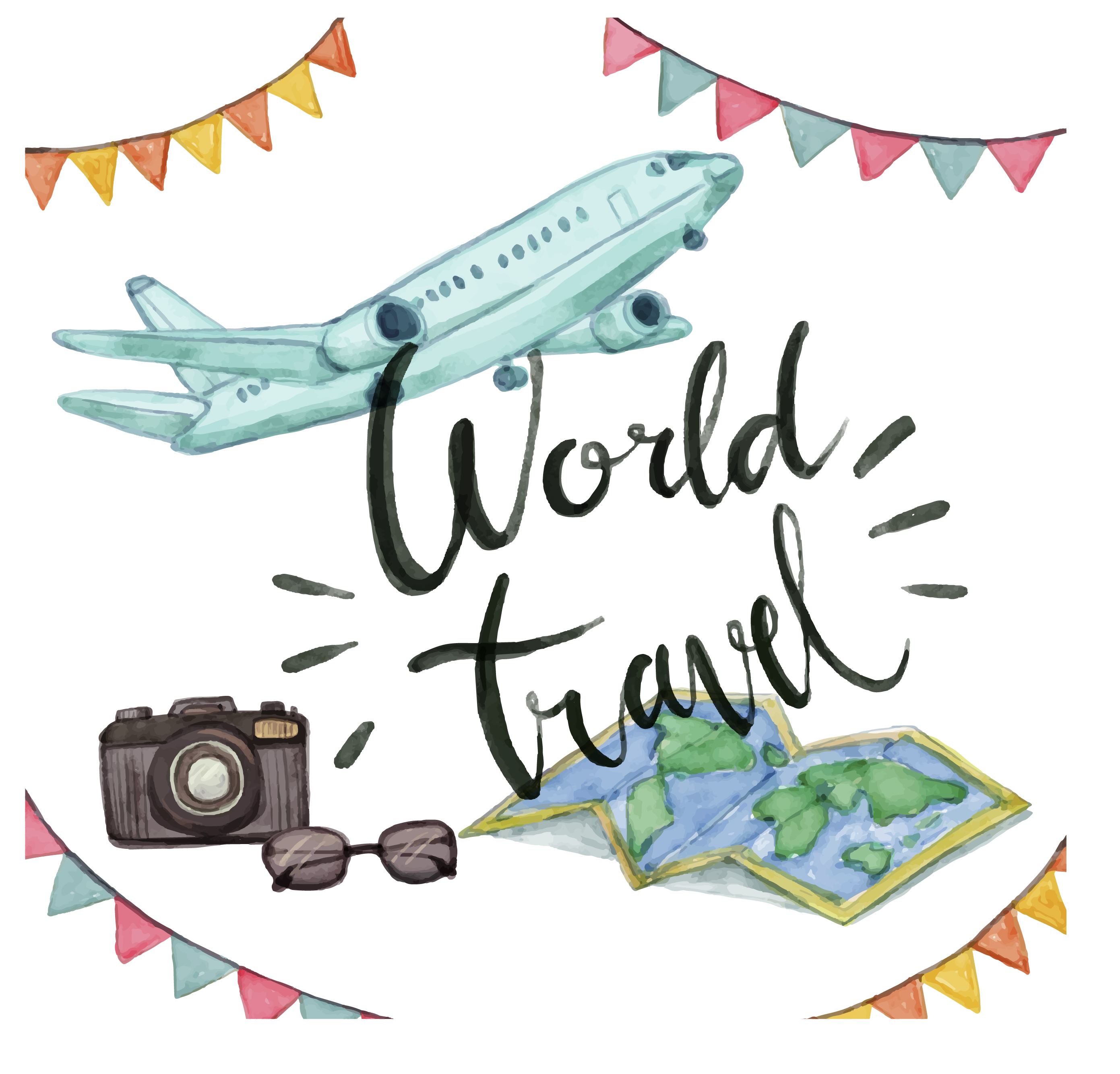 Airplane travel watercolor painting. Ham clipart drawn