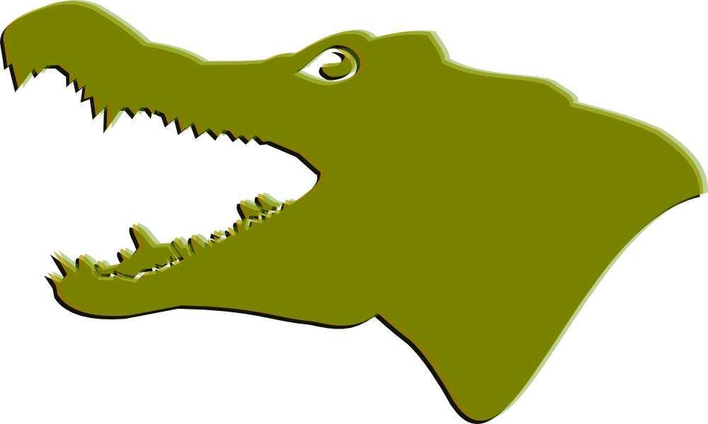 Footprints clipart crocodile. Alligator head pencil and