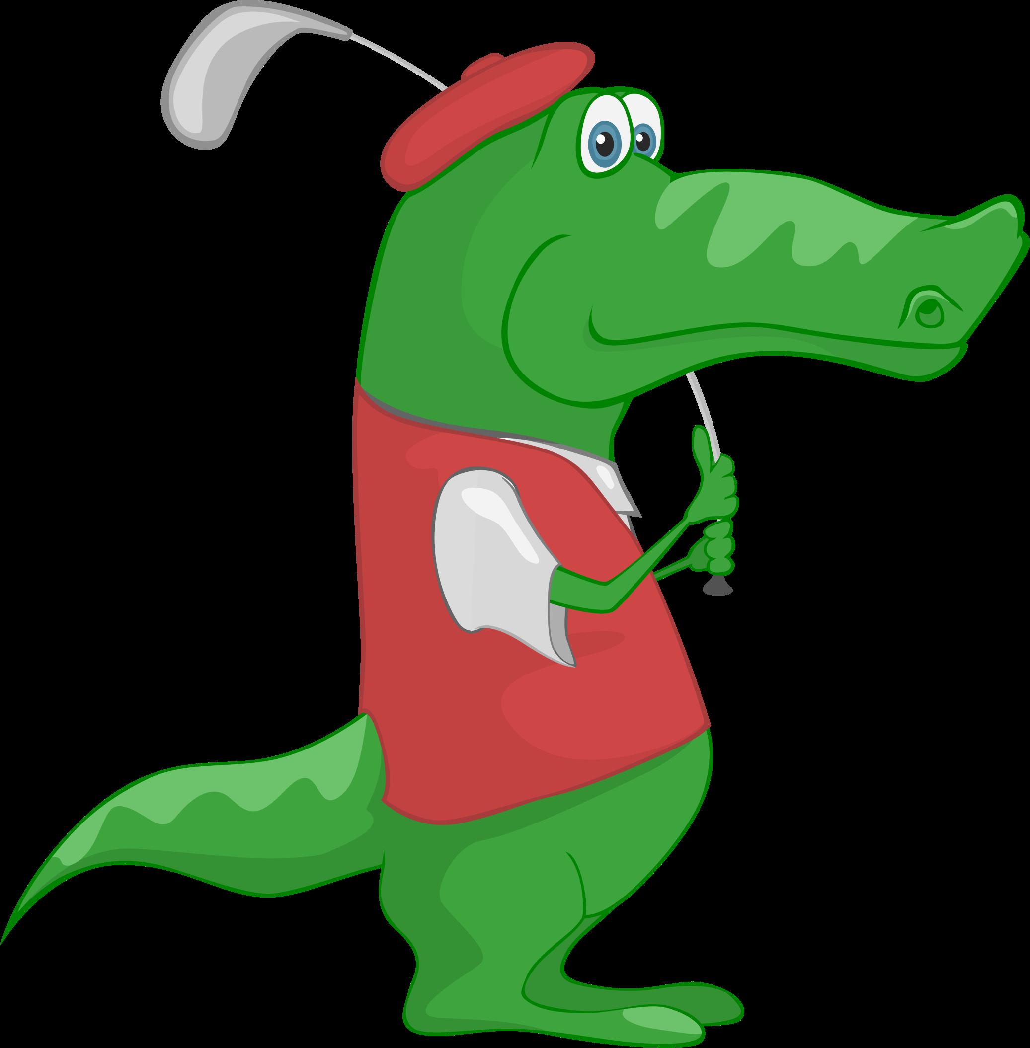 Purple clipart crocodile. Playing golf big image