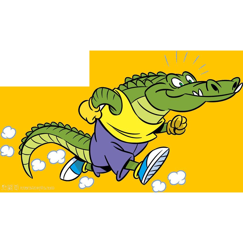 Pear clipart crocodile. Alligator running illustration cute