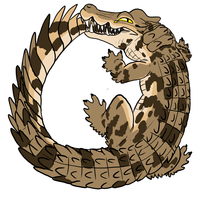Ouroboros hard enamel pins. Crocodile clipart two
