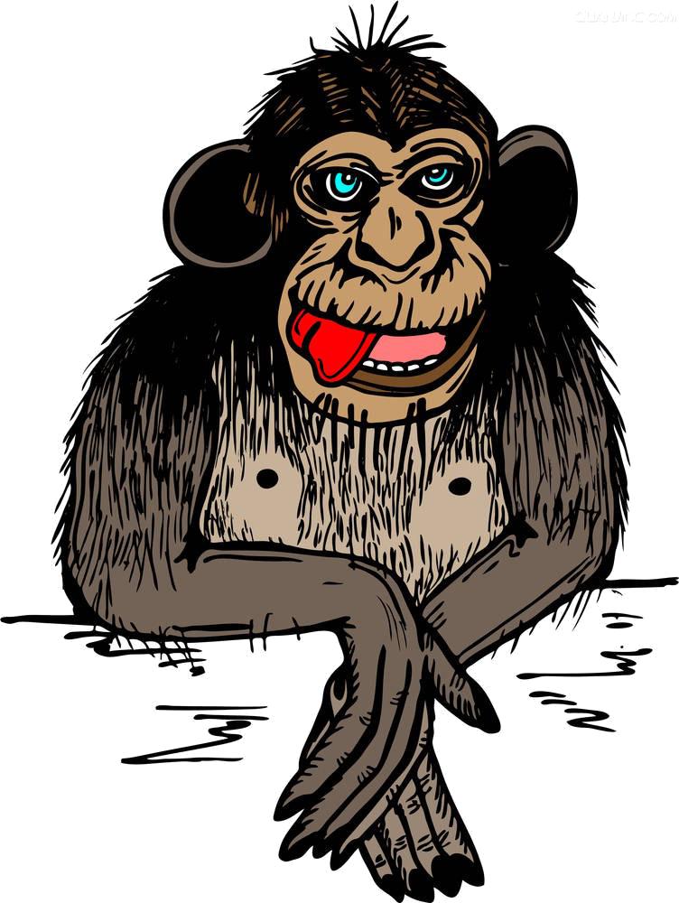 Gorilla drawing cartoon at. Face clipart orangutan