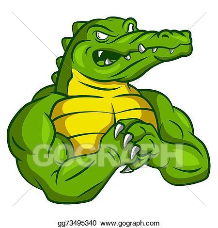 Crocodile clipart alligator mascot. Clip art vector strong