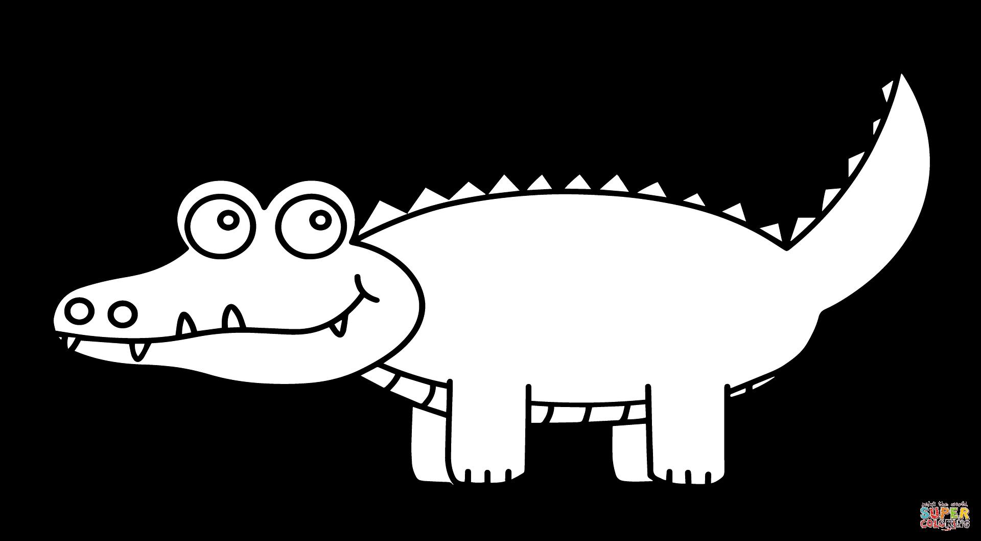Cute cartoon alligator page. Coloring clipart crocodile
