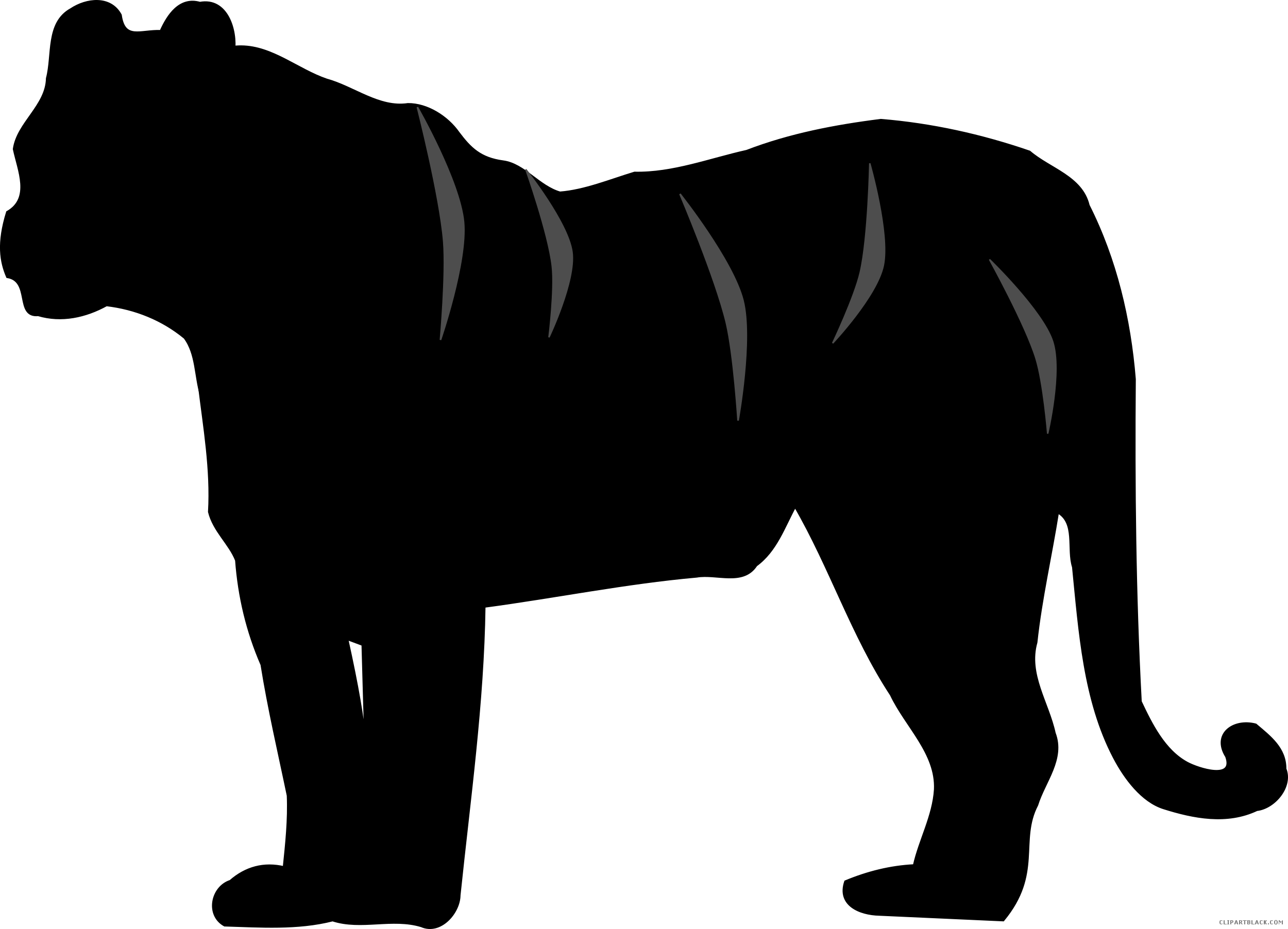 Silhouette free black white. Clipart tiger tiger animal