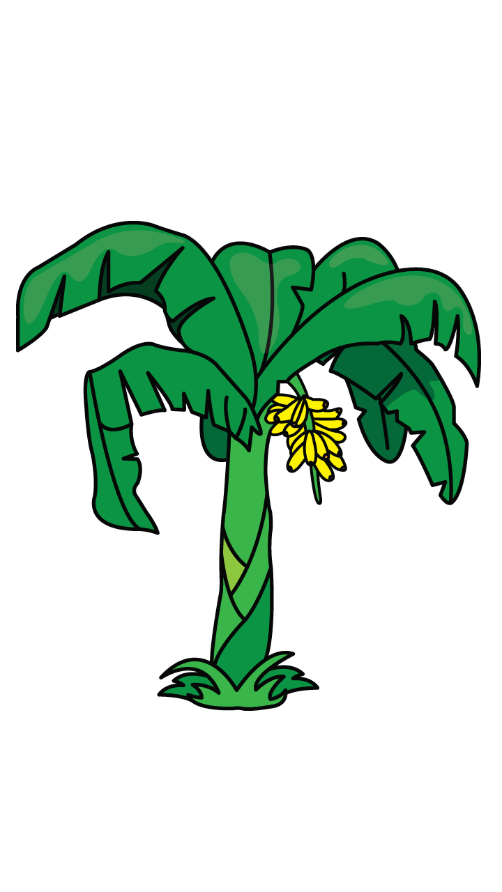 Another tutorial in flowers. Tree clipart banana