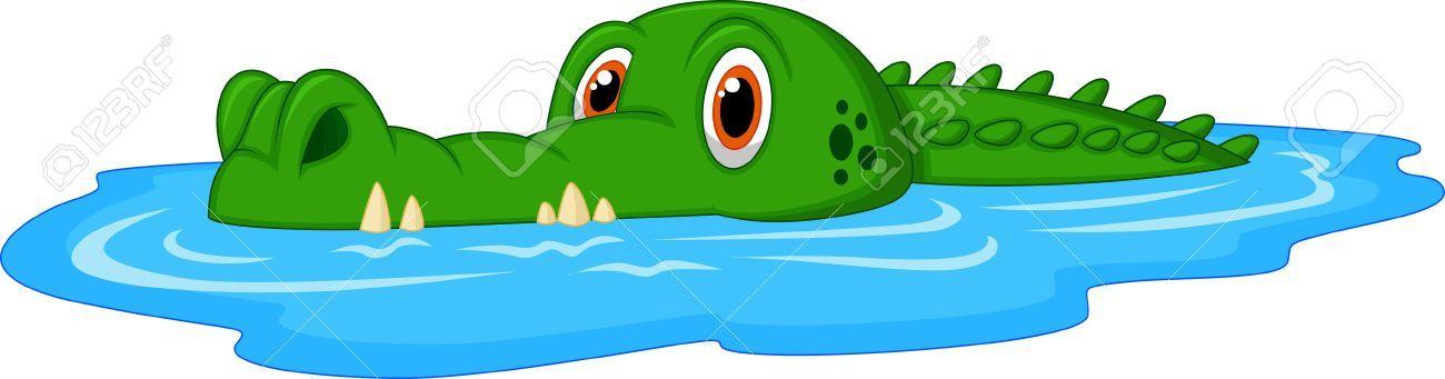 Crocodile clipart water. Stock vector clip art