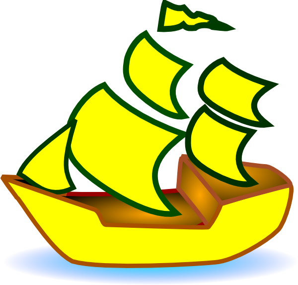 Clipart boat ship. Yellow clip art at