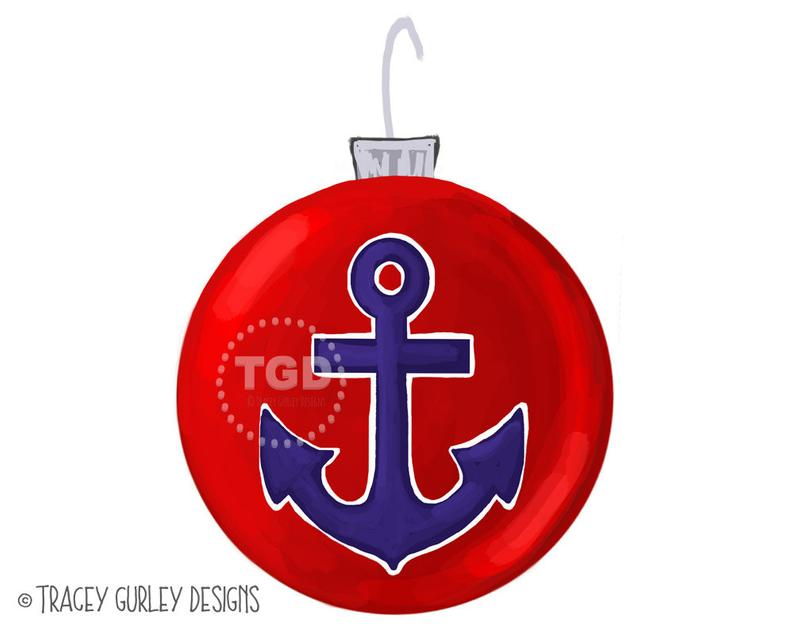 Clipart anchor christmas. Preppy ornament clip art