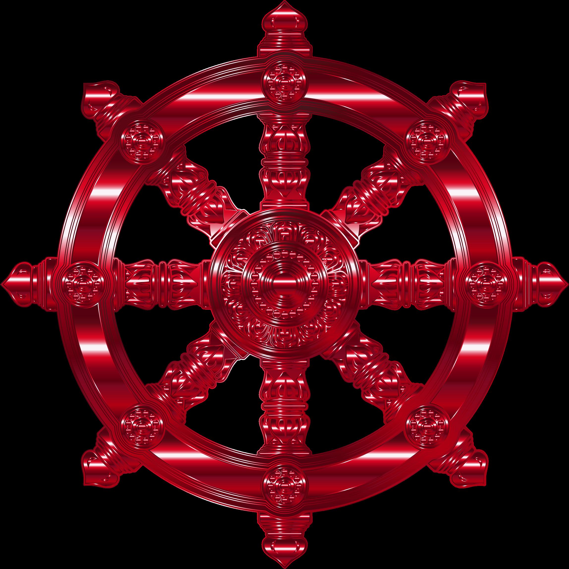 Clipart anchor circle. Vermillion ornate dharma wheel