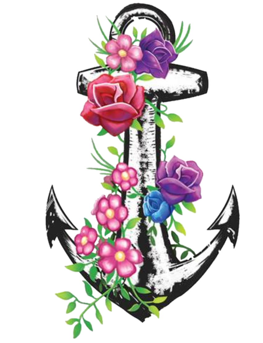 Clipart anchor flower. Floral flowers sticker by