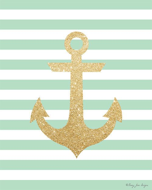 With seafoam striped background. Clipart anchor gold glitter