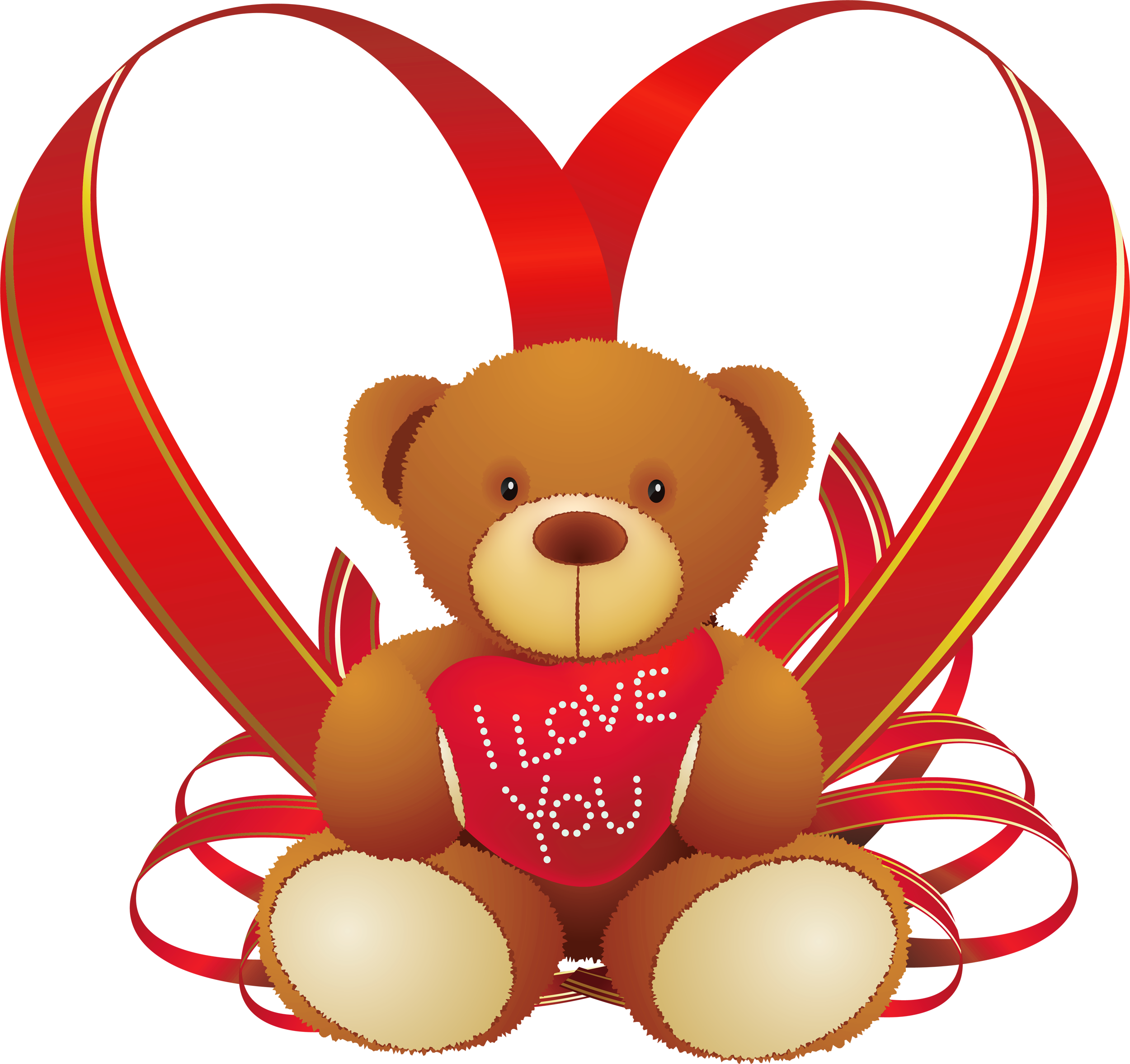 Heart with transparent background. Bears clipart red