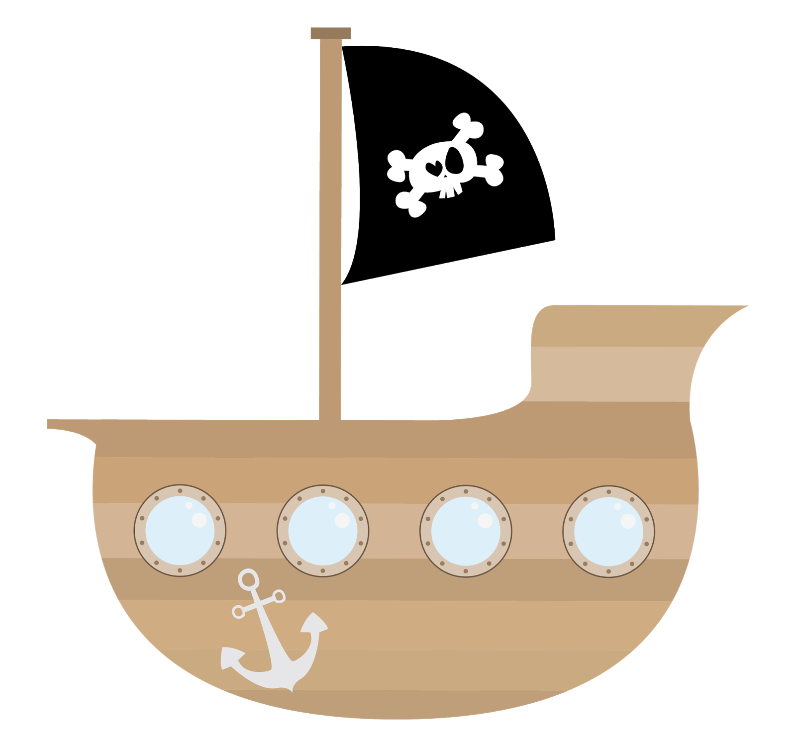 Clipart boat simple. Pirate ship kid story