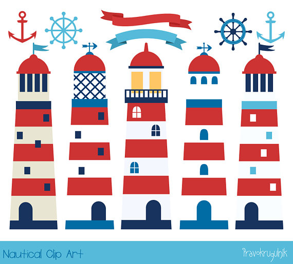 Cute red navy sea. Clipart anchor lighthouse