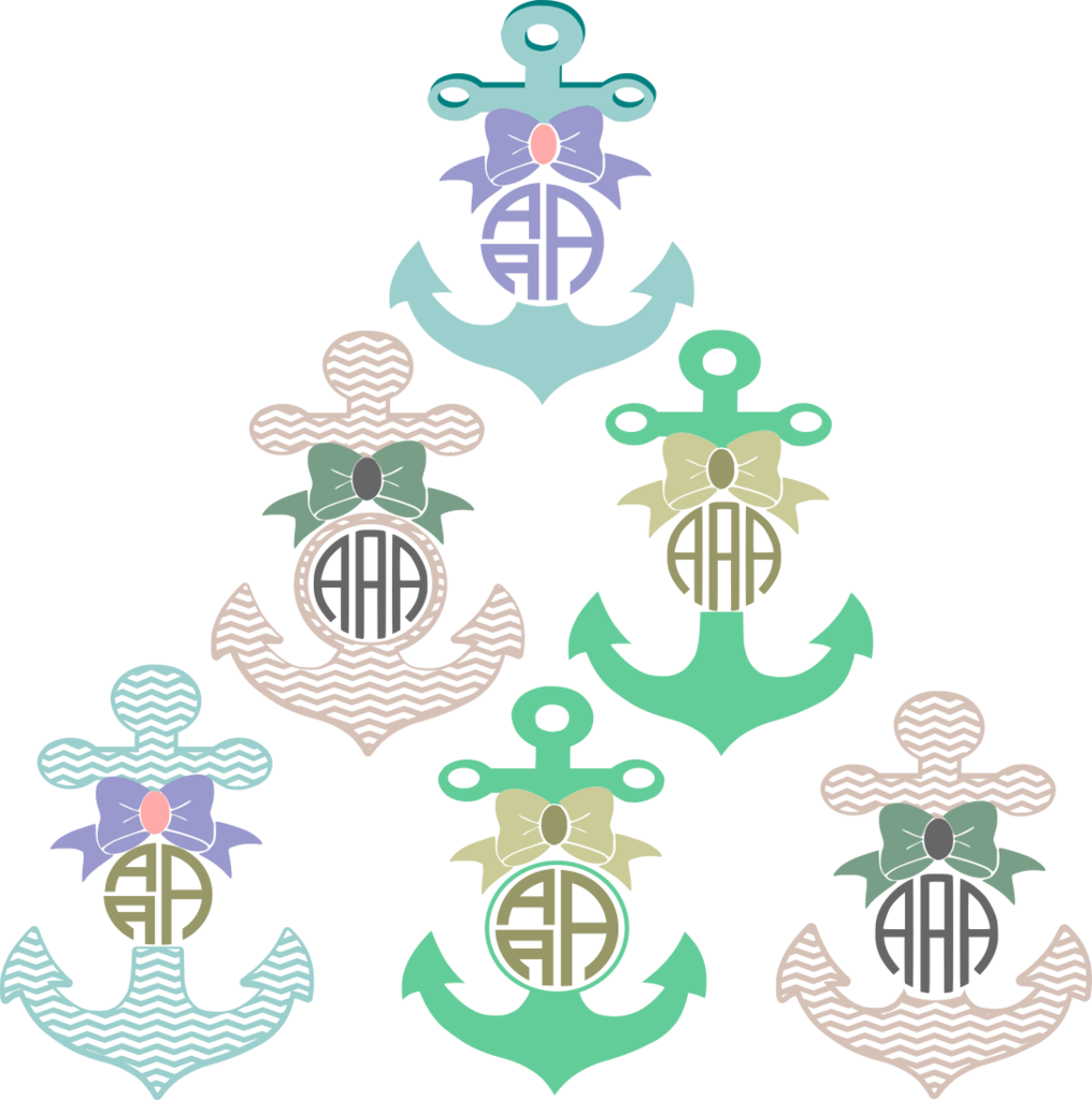 Clipart bow monogram bow. Anchor frame svg cut