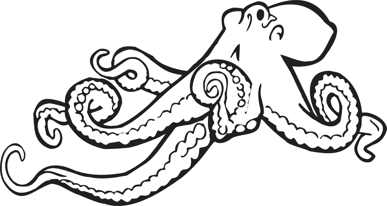 Black and white panda. Octopus clipart happy octopus
