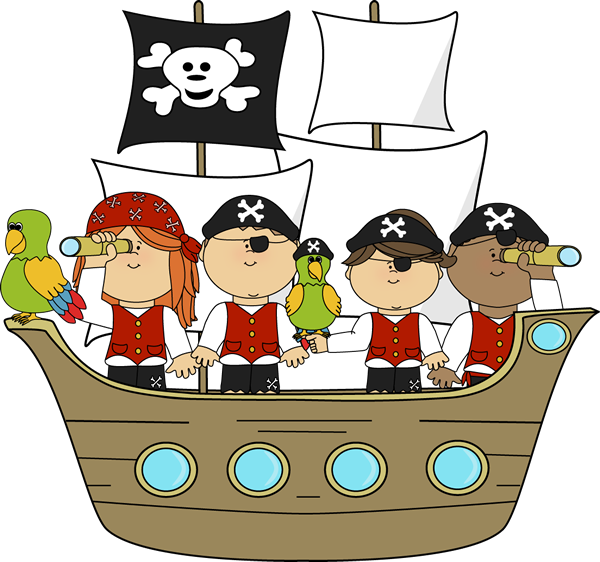 Treasure clipart reading. Pirates on pirate ship