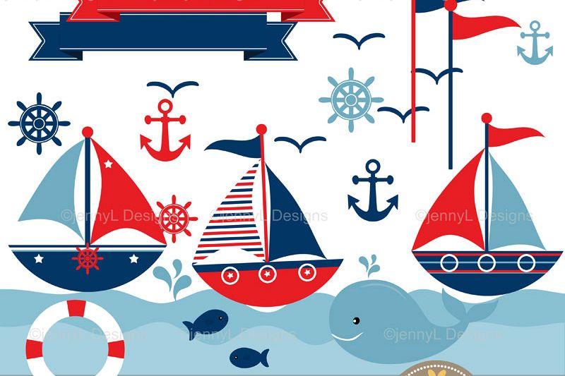 Nautical sailing sail boat. Clipart anchor sailboat