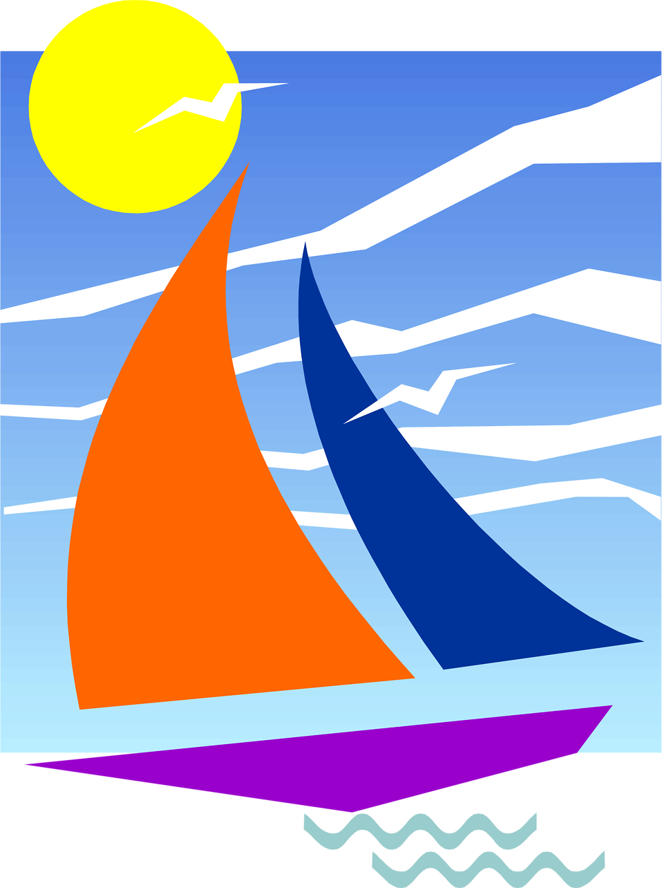 Clipart sun ocean. Sailboat free stock photo