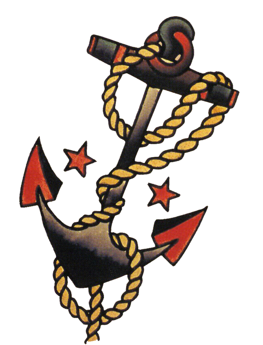 Clipart anchor shaded. Sailor jerry vintage tattoo