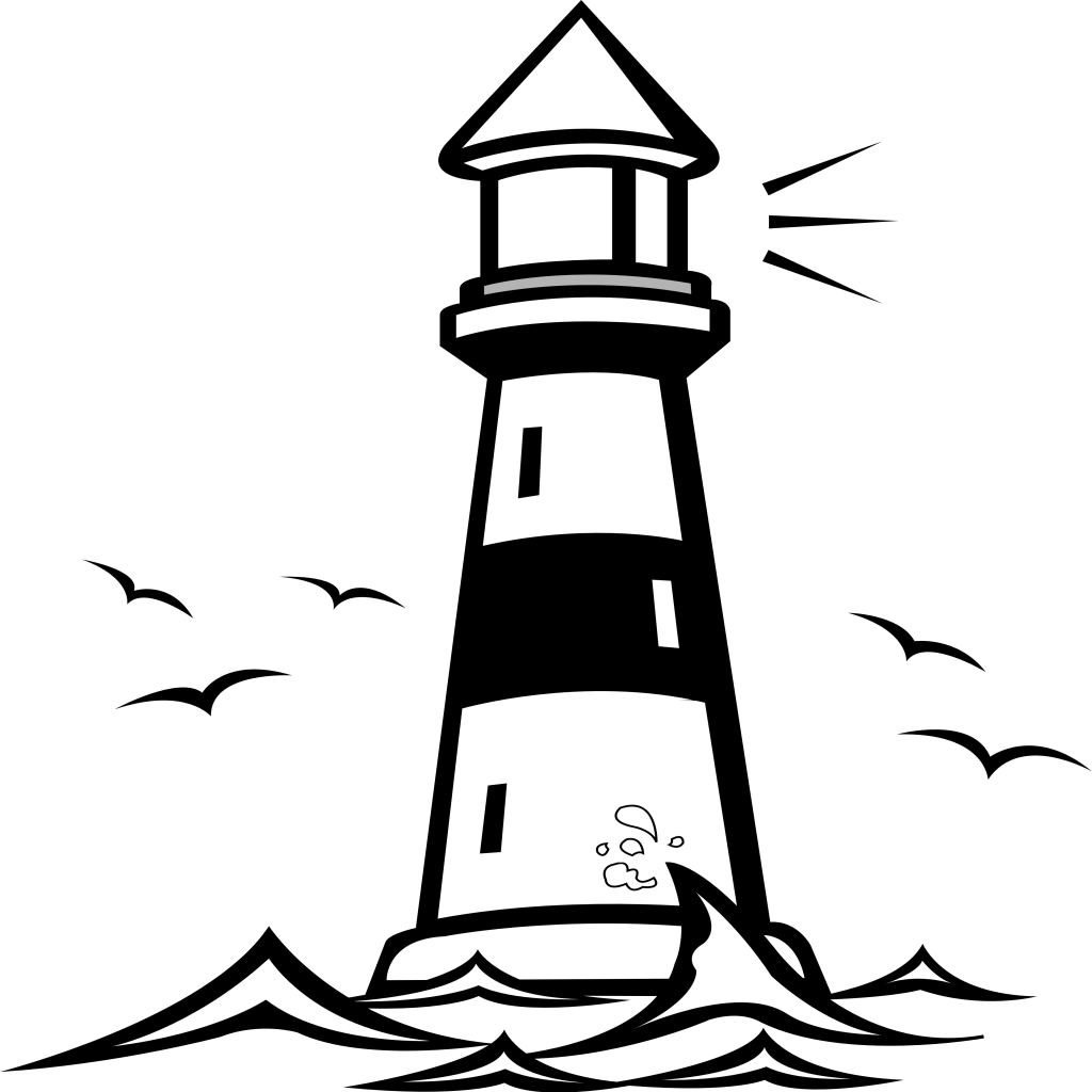 Tower clipart coloring page. Lighthouse vector clip art