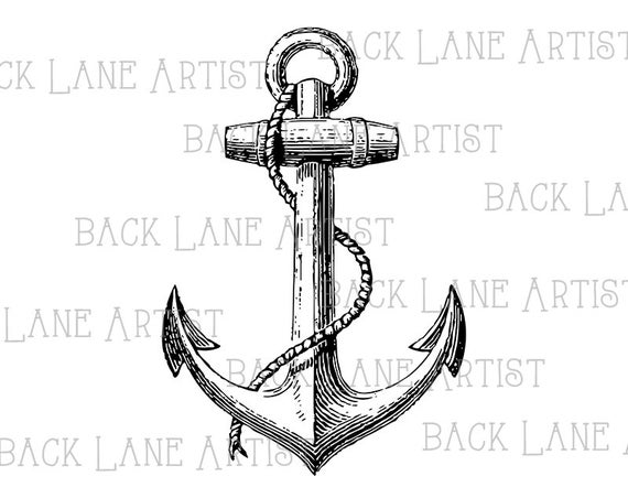 Ship sailboat lineart illustration. Clipart anchor vintage