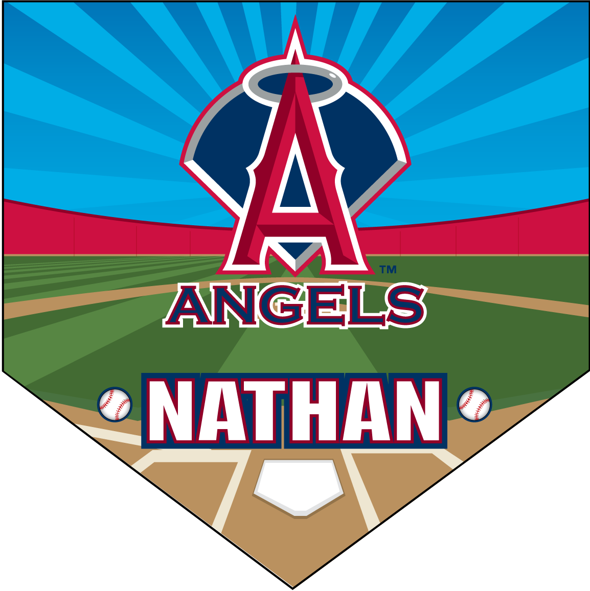 Angels home plate individual. Pennant clipart team