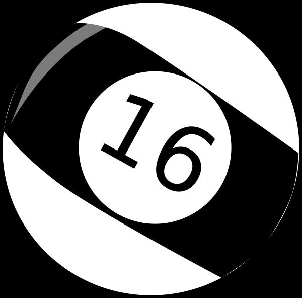 Sixteen billiard ball clip. Clipart numbers baseball