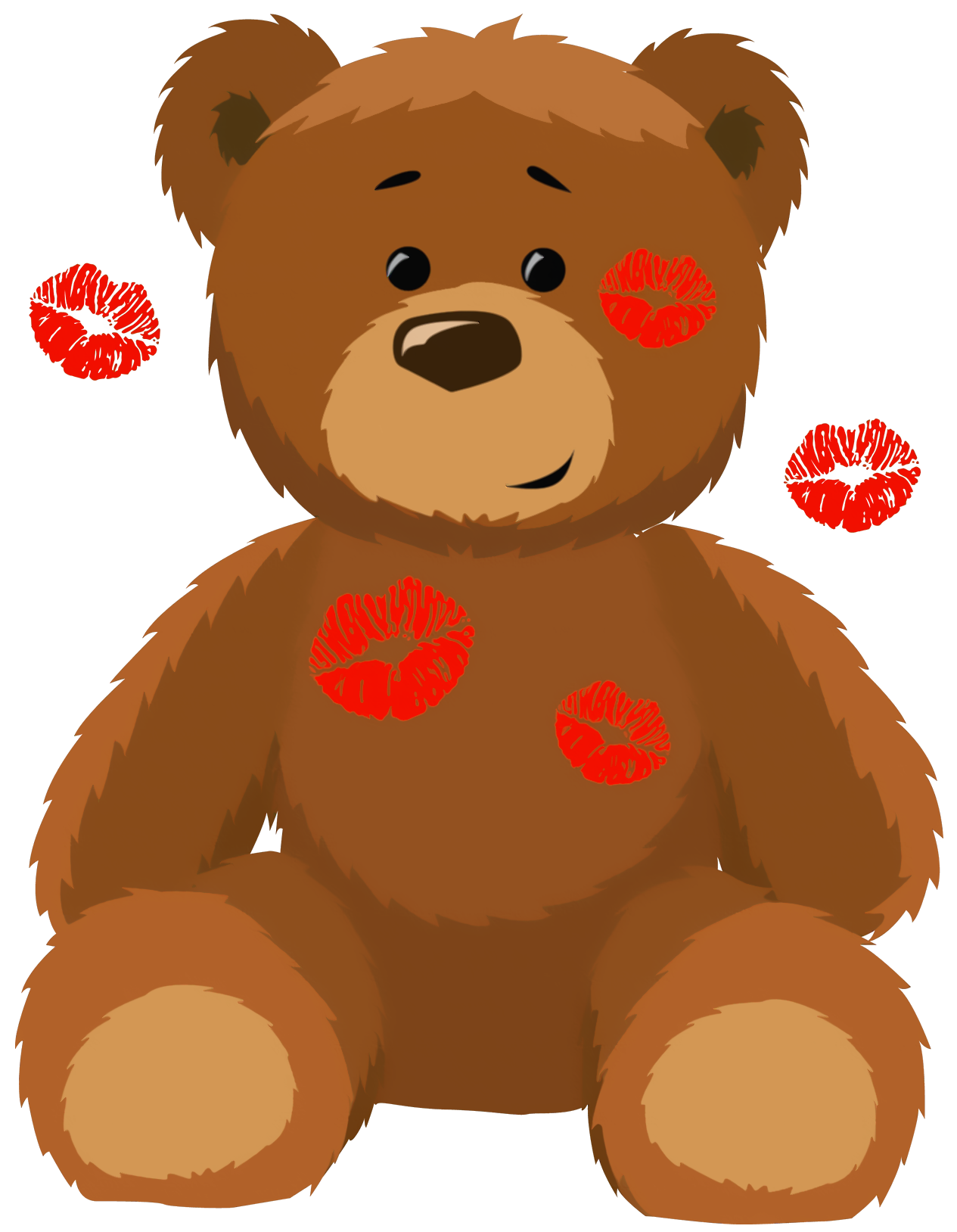 Cute Bear with Kisses PNG Clipart Picture
