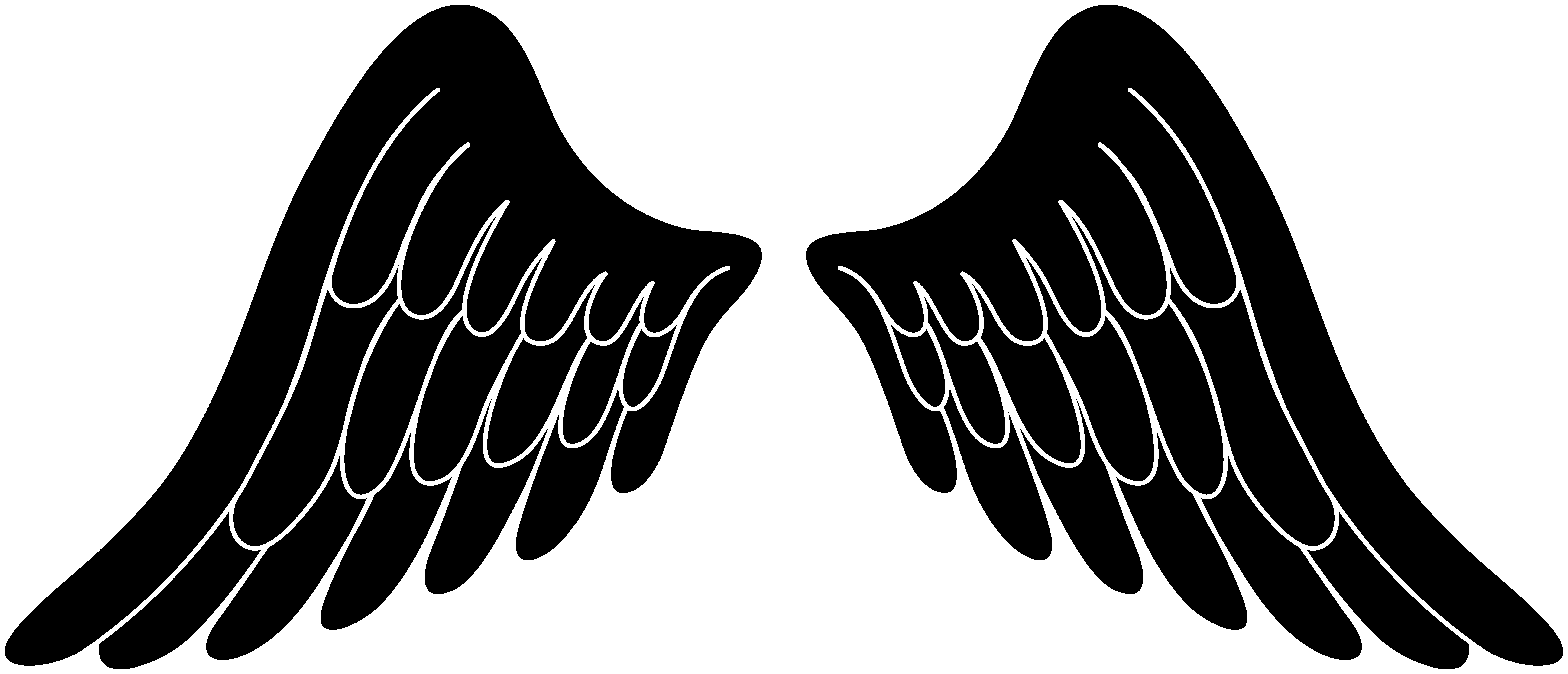 Black angel wings . Wing clipart one wing