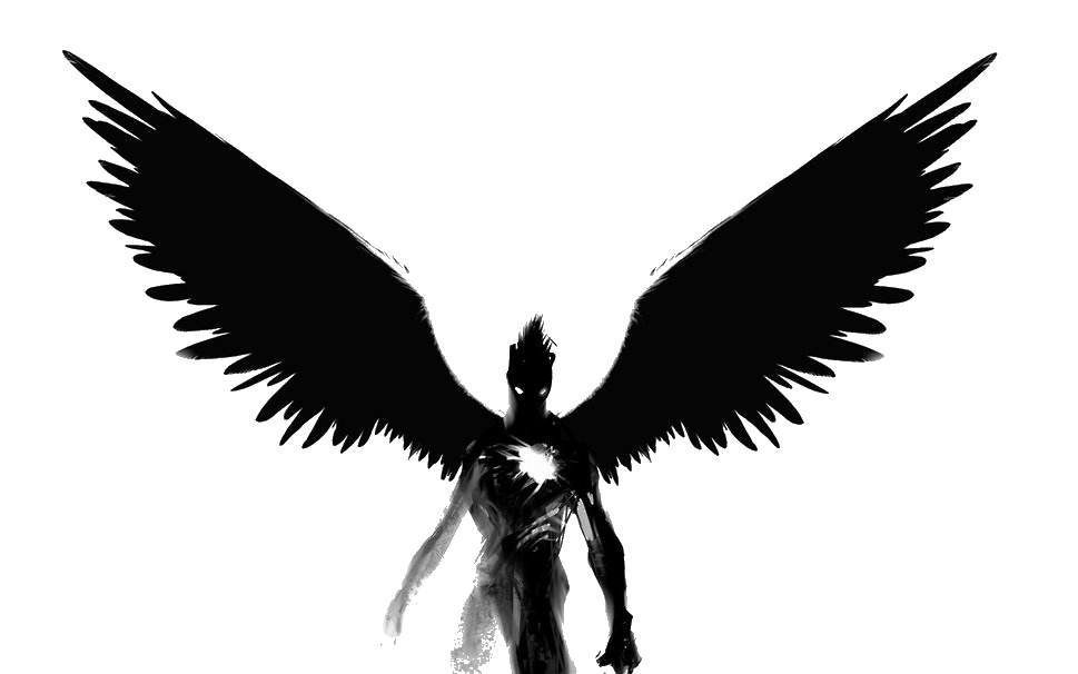 Angel black and white. Wing clipart supernatural