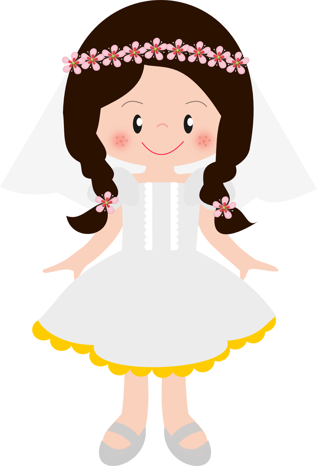 Communion clipart first precious moment. Girls in their clip