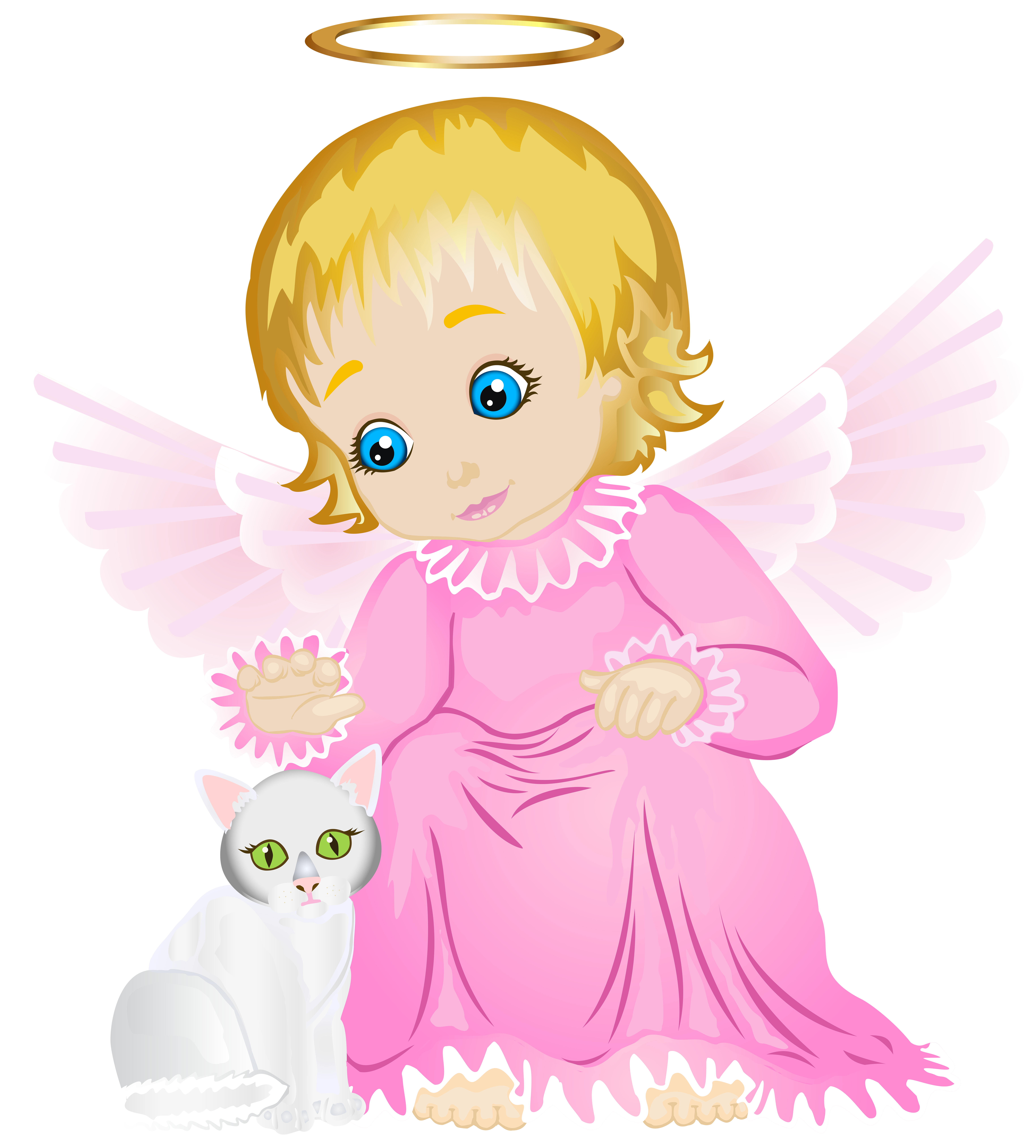 Wing clipart cute. Angel with white kitten