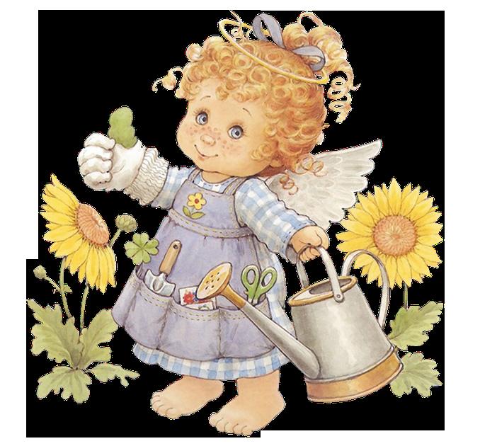 Cute angel gardener with. Flower clipart bible