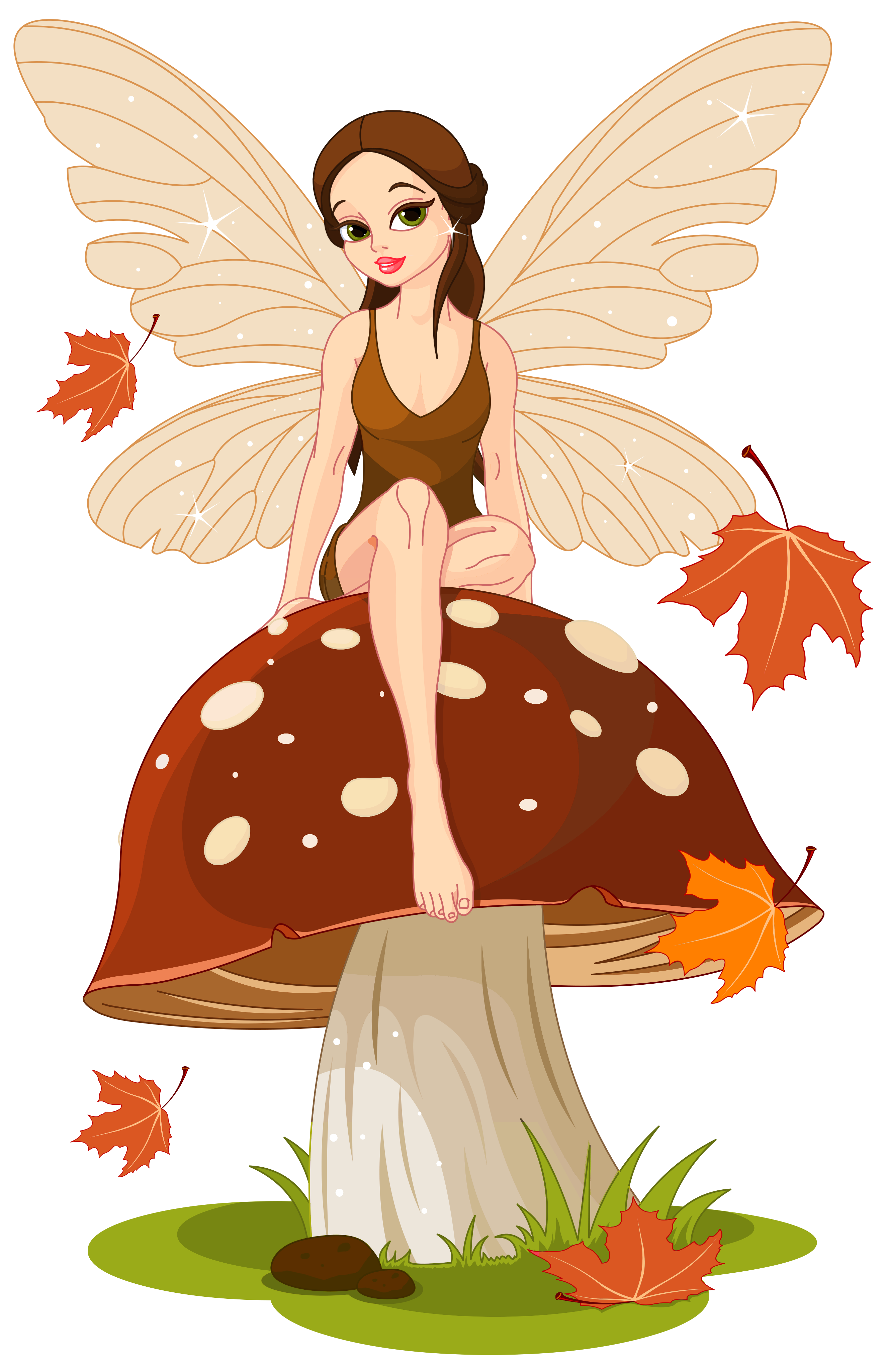 Words clipart angel. Autumn fairyand mushroom png