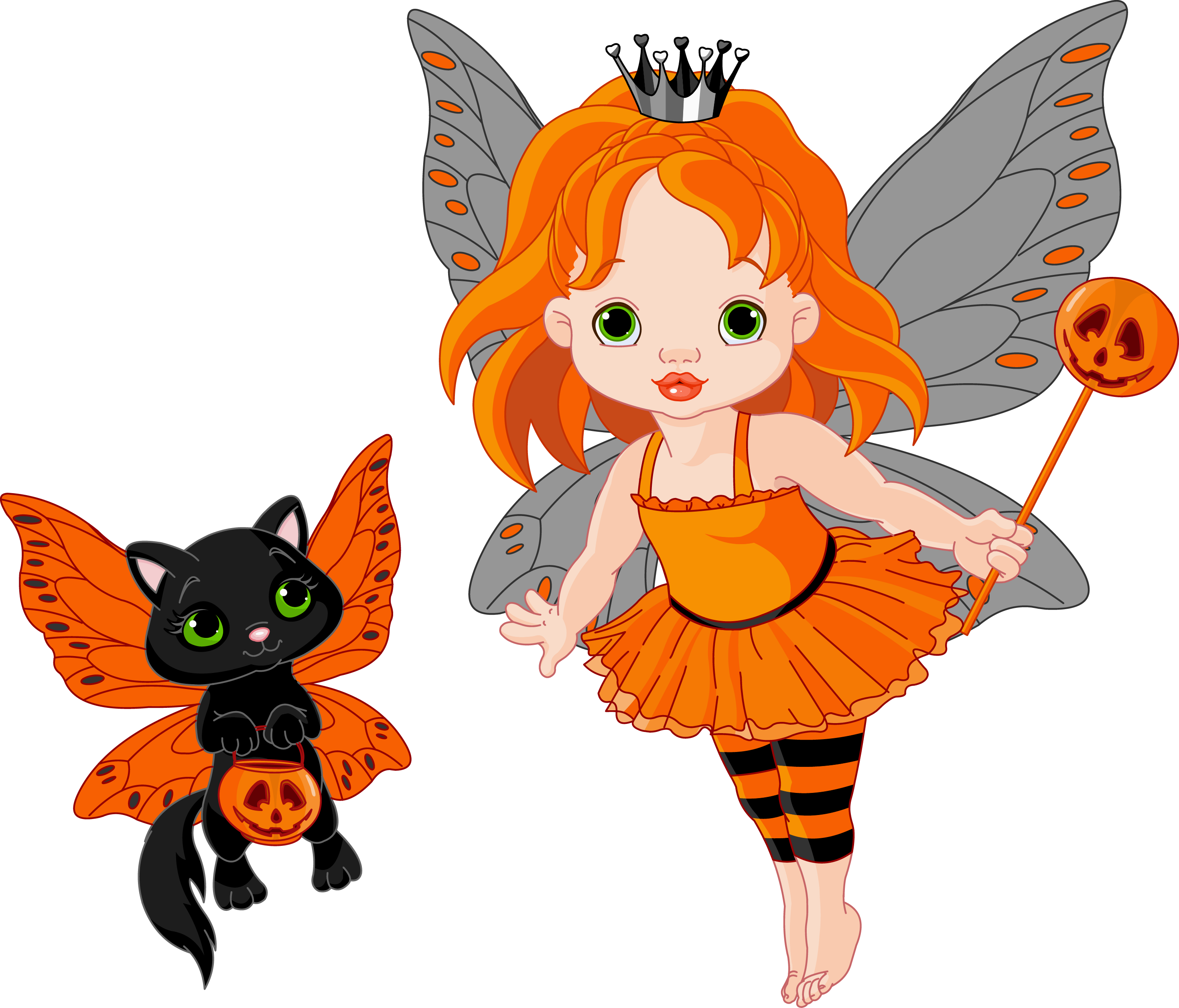 Transparent halloween and cat. Picture clipart fairy