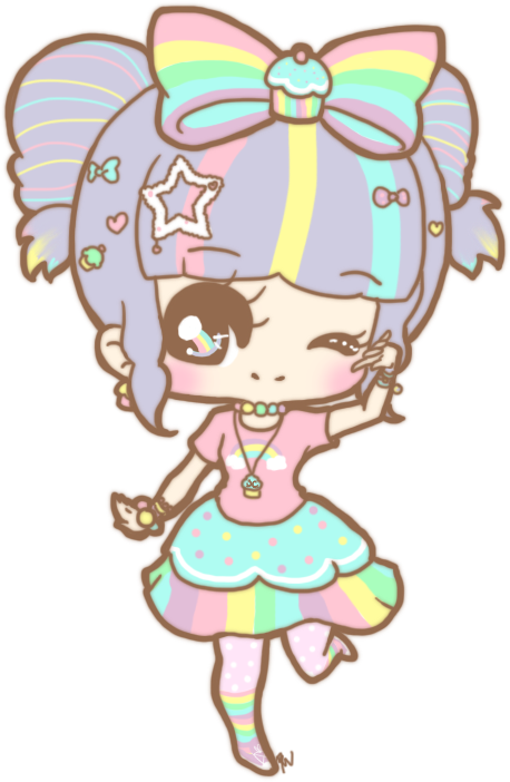 Shy clipart adorable girl. Cute kawaii rainbow by